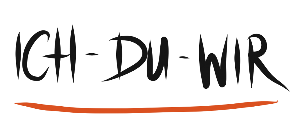 Bild zeigt die drei Wörter Ich - Du - Wir in einer Schreibschrift.